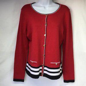 NWT Karen Scott Red Stripe Sweater Cardigan PS